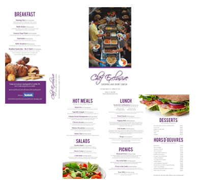 Chef Exclusive Business Catering Printable Online Menu