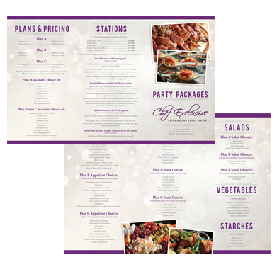 Chef Exclusive Wedding Catering Printable Online Menu